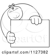 Cartoon Of An Outlined Buff Bear Holding A Sign 1 Royalty Free Vector Clipart