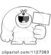 Cartoon Of An Outlined Buff Bear Holding A Sign 2 Royalty Free Vector Clipart