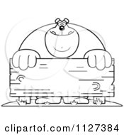 Cartoon Of An Outlined Buff Bear Behind A Wooden Sign Royalty Free Vector Clipart by Cory Thoman