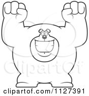 Cartoon Of An Outlined Excited Buff Bear Royalty Free Vector Clipart