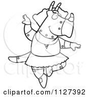 Cartoon Of An Outlined Robot Triceratops Dinosaur Ballerina Dancing Royalty Free Vector Clipart by Cory Thoman