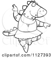 Cartoon Of An Outlined Robot Spinosaurus Dinosaur Ballerina Dancing Royalty Free Vector Clipart by Cory Thoman
