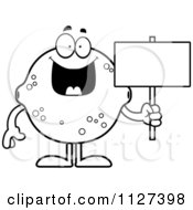 Cartoon Of An Outlined Lemon Or Lime Mascot Holding A Sign Royalty Free Vector Clipart