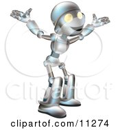 Friendly Futuristic Robot With His Arms Out