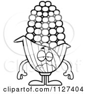 Cartoon Of An Outlined Sick Corn Mascot Royalty Free Vector Clipart