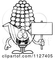 Cartoon Of An Outlined Corn Mascot Holding A Sign Royalty Free Vector Clipart