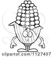 Cartoon Of An Outlined Surprised Corn Mascot Royalty Free Vector Clipart
