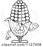 Cartoon Of An Outlined Waving Corn Mascot Royalty Free Vector Clipart