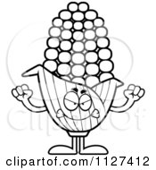 Cartoon Of An Outlined Angry Corn Mascot Royalty Free Vector Clipart