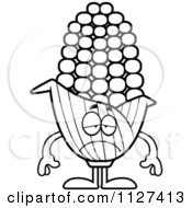 Cartoon Of An Outlined Depressed Corn Mascot Royalty Free Vector Clipart by Cory Thoman