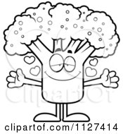 Cartoon Of An Outlined Loving Broccoli Mascot With Open Arms Royalty Free Vector Clipart