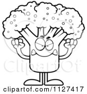 Cartoon Of An Outlined Angry Broccoli Mascot Royalty Free Vector Clipart
