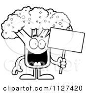 Cartoon Of An Outlined Broccoli Mascot Holding A Sign Royalty Free Vector Clipart