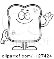 Cartoon Of An Outlined Friendly Bread Character Waving Royalty Free Vector Clipart