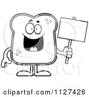 Cartoon Of An Outlined Bread Character Holding A Sign Royalty Free Vector Clipart