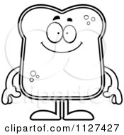 Cartoon Of An Outlined Happy Bread Character Royalty Free Vector Clipart