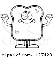 Cartoon Of An Outlined Angry Bread Character Royalty Free Vector Clipart by Cory Thoman