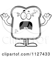 Cartoon Of An Outlined Scared Bread Character Royalty Free Vector Clipart