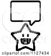 Cartoon Of An Outlined Happy 8bit Pixelated Talking Star Royalty Free Vector Clipart