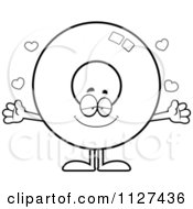 Cartoon Of An Outlined Loving Donut Mascot With Open Arms Royalty Free Vector Clipart