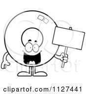 Cartoon Of An Outlined Donut Mascot Holding A Sign Royalty Free Vector Clipart by Cory Thoman