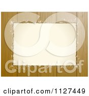 Clipart Of A Grungy Paper Frame And Copyspace Over Wood Panels Royalty Free Vector Illustration by elaineitalia