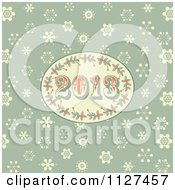 Clipart Of A Retro 2013 New Year Holly Oval On Green With Snowflakes Royalty Free Vector Illustration by elaineitalia
