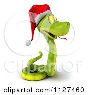 Clipart Of A 3d Green Christmas Snake Wearing A Santa Hat 2 Royalty Free CGI Illustration