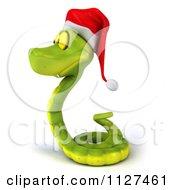 Clipart Of A 3d Green Christmas Snake Wearing A Santa Hat 3 Royalty Free CGI Illustration