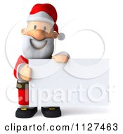 Clipart Of A 3d Santa Holding A Sign 3 Royalty Free CGI Illustration