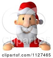 Clipart Of A 3d Santa Holding A Sign 2 Royalty Free CGI Illustration by Julos