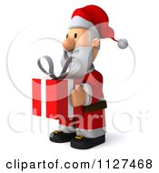 Clipart Of A 3d Santa Holding A Gift 2 Royalty Free CGI Illustration
