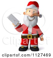 Clipart Of A 3d Santa Holding A Letter 1 Royalty Free CGI Illustration