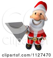 Clipart Of A 3d Santa Holding A Letter 2 Royalty Free CGI Illustration