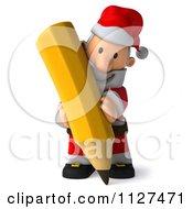 Clipart Of A 3d Santa Holding A Pencil 1 Royalty Free CGI Illustration