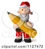 Clipart Of A 3d Santa Holding A Pencil 2 Royalty Free CGI Illustration