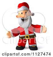 Clipart Of A 3d Santa Welcoming Royalty Free CGI Illustration