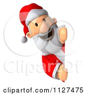 Clipart Of A 3d Santa Holding A Sign 1 Royalty Free CGI Illustration