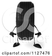 Clipart Of A 3d Wheel Mascot Standing Royalty Free CGI Illustration by Julos