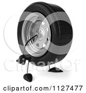 Clipart Of A 3d Wheel Mascot Facing Right Royalty Free CGI Illustration by Julos