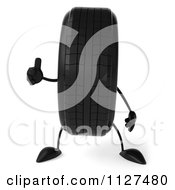 Clipart Of A 3d Wheel Mascot Holding A Thumb Up Royalty Free CGI Illustration