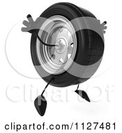 Clipart Of A 3d Wheel Mascot Jumping Royalty Free CGI Illustration