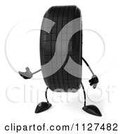 Clipart Of A 3d Wheel Mascot Presenting Royalty Free CGI Illustration