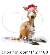 Clipart Of A 3d Aussie Christmas Kangaroo Royalty Free CGI Illustration