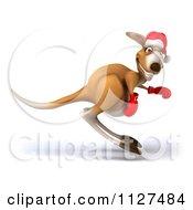 Clipart Of A 3d Aussie Christmas Kangaroo Boxer Hopping Royalty Free CGI Illustration