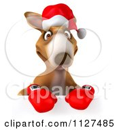Clipart Of A 3d Aussie Christmas Kangaroo Boxer With A Sign 1 Royalty Free CGI Illustration