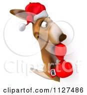 Clipart Of A 3d Aussie Christmas Kangaroo Boxer With A Sign 2 Royalty Free CGI Illustration