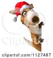 Clipart Of A 3d Aussie Christmas Kangaroo With A Sign Royalty Free CGI Illustration