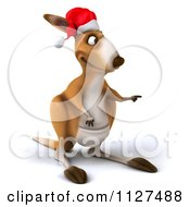 Clipart Of A 3d Aussie Christmas Kangaroo Pointing Royalty Free CGI Illustration