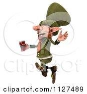Clipart Of A 3d Happy Leprechaun With Beer 3 Royalty Free CGI Illustration by Julos